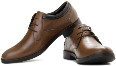 Lee Cooper Men Genuine Leather Lace Up Shoes(Tan)