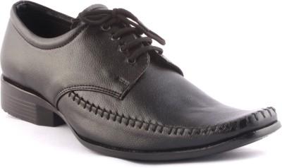 Zapatoz Black Pulp Stitched Lace Up Shoes