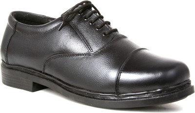 Snappy Leather Black Color Oxford For Men Lace Up Shoes