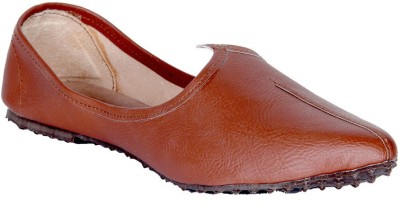 Panahi Tan Synthetic Leather Slip On Jutis Casuals, Party Wear