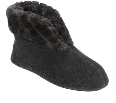 Dearfoams Dearfoams Velour Bootie Slipper with Quilted Pile Cuff Grey Boots(Grey)