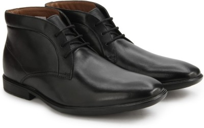 Clarks Gosworth Hi Black Leather Boots