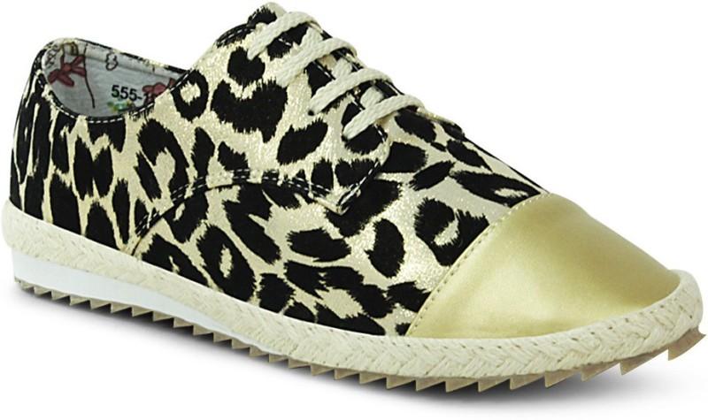 Get Glamr Designer Lace Ups Canvas Shoes(Gold)