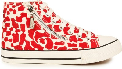 Advin England White & Red Pebble With Ankle Chain Casual Sneakers