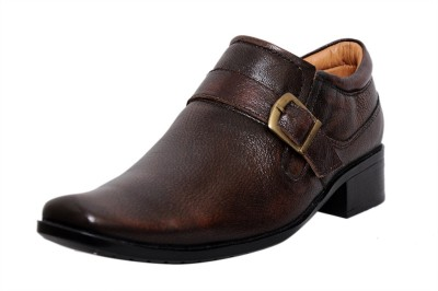 Zoom Zoom Men's Pure Leather Formal Shoes G-31-Brown-7 Slip On