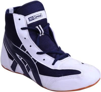 Hi Speed wrsmat2 White Blue Wrestling Shoes(White, Blue)