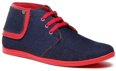 Zapatoz Denim Red Zipper Ankle Length Sneakers