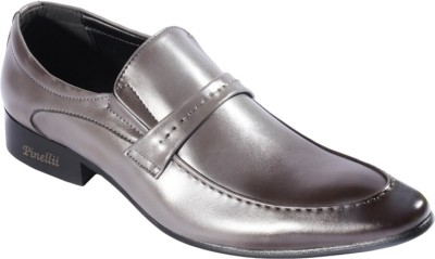 Pinellii Cursa Grey Italian Hand Crafted Slip On Shoes