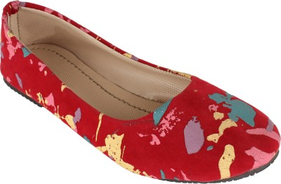 Authentic Vogue Red Printed Fabric Ballerinas Bellies