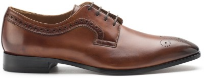 Heel & Buckle Medallion Derby Lace Up Shoes