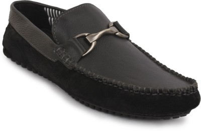 Buckleup MENS LEATHER SHOES BU4002_BLACK-Size-8 Slip On(Black)