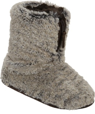 Dearfoams Dearfoams Plush Boot Slipper with Half Zip Brown Boots(Brown)