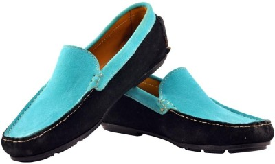 Alpha Man Casual Retro Mint Blue Genuine Leather Loafers