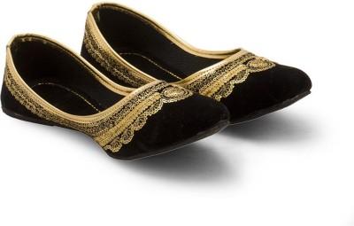 Little India Women Golden Zari Black Velvet Ballerina Sandals 315 Jutis