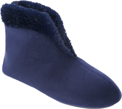 Dearfoams Stylish Ankle-Length Velvet Boots Blue Boots(Blue)
