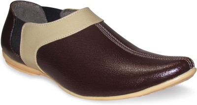 Sapatos Synthetic Leather stylish Beige N Brown Casual Shoes