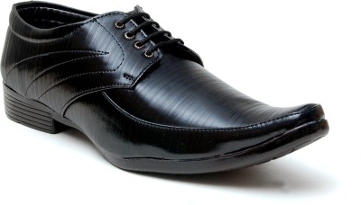 Oora Shining Black With Fine Lining Design Lace Up Shoes