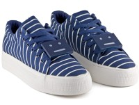 DeVEE Striped Navy Blue Metal Tag Canvas Shoes(Navy, Blue)