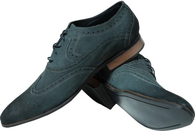 Zovi Grey Mens Formal Brogue Two Tone Finish Premium Leather Shoes Corporate Casuals