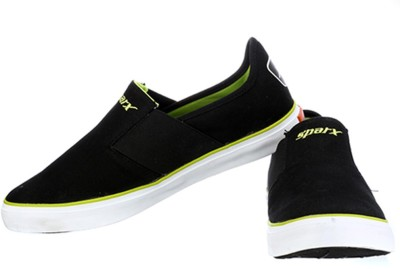 Sparx Stylish Black Green Canvas Shoes