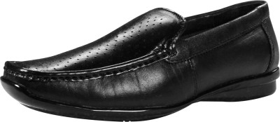 Feather Leather Genuine Leather Black Formal Shoes 046 Loafers