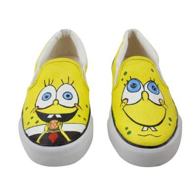 LazyBrats Sponge Bob Hand Painted Customised Casual Slipon Shoes