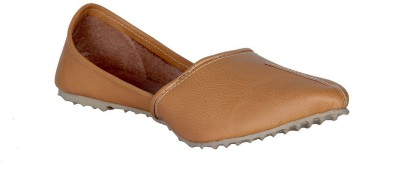 Panahi Camel Synthetic Leather Slip On Jutis Casuals, Party Wear