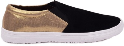 Advin England Black Golden Slip On style shoes Sneakers