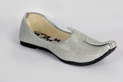Panahi Silver Colour Synthetic Leather Men Ethnic Wear Slip On Jutis Party Wear