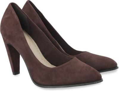 Clarks Azizi Poppy Burg Suede Slip On shoes(Brown)