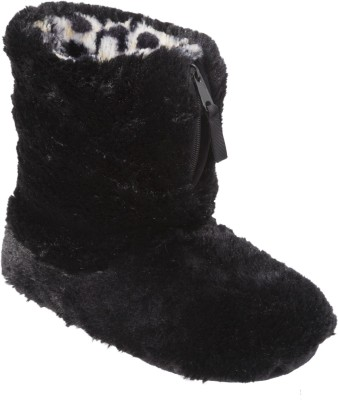 Dearfoams Fur Long Booties with Zipper Black Boots(Black)