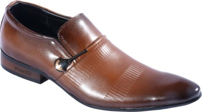 Pinellii Capricorn Brown Italian Hand Crafted Slip On Shoes