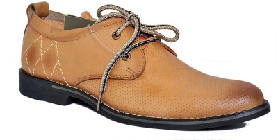 Zoom Zoom Branded Men's Pure Leather Formal Shoes PG-65-Tan-10 Lace Up