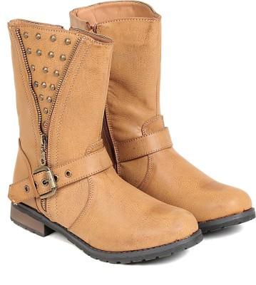 TEN TEN Womens Beige Mid Length Boots Boots