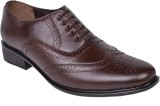 Leather Wood Party Wear Shoes (Brown)