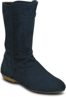 Kielz Ladies Blue Suede Boots Boots(Blue)