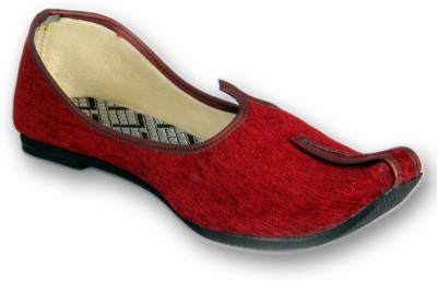 Panahi Red Colour Fabric Men Ethnic Wear Slip On Jutis Party Wear