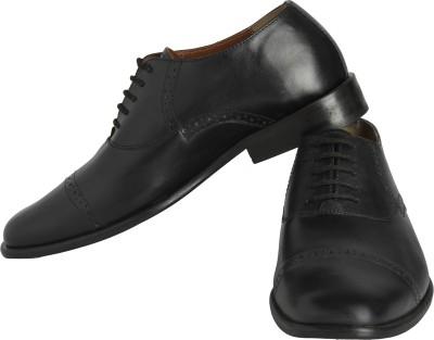 Claude Lorrain Black Semi Brogue Lace Up Shoes