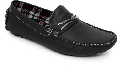 Woodlark Black Synthetic Leather Loafers For Mens Casual Shoes