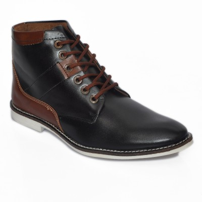 Stylox Black & Brown Ankle Boots