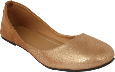 Authentic Vogue Golden Colour Fabric Ballerinas Bellies