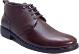 WBH Men Leather Brown Ankle Lace Up (Bro...