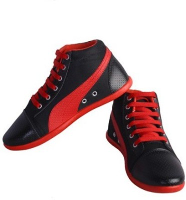 Shoe Striker Long Black & Red Casual Shoes