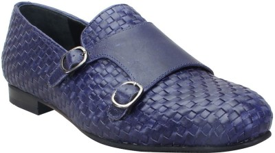Bare Skin Blue Genuine Leather Hand Woven Double Monk Strap Slip On Shoe For Men Loafers(Blue)