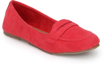 Blue Button Coral Pink Loafers