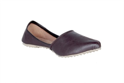 Panahi Brown Synthetic Leather Slip On Jutis Casuals, Party Wear