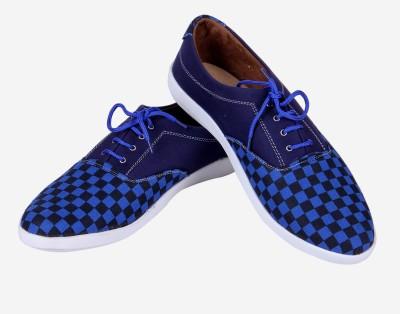 Goyal Navy Blue check Canvas Shoes