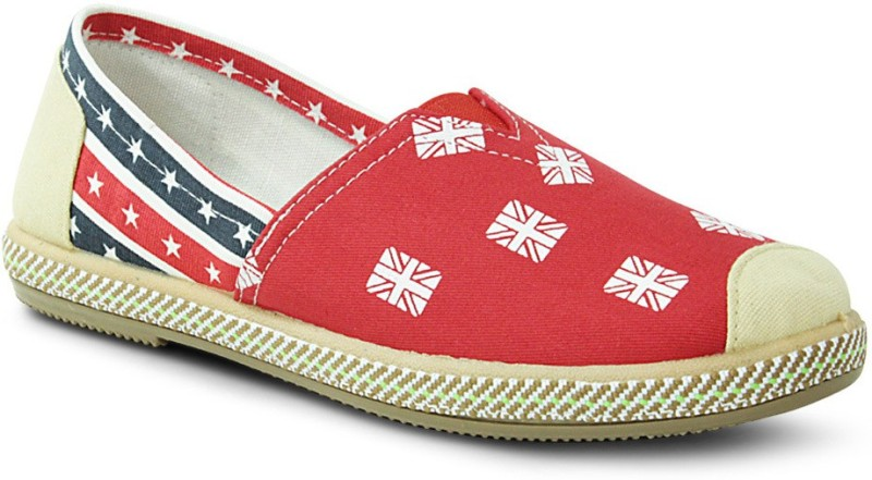 Get Glamr Stylish Slip Ons Canvas Shoes(Red)
