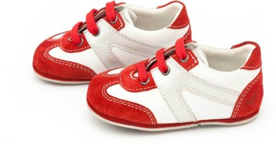 Drish Red And White Toddler Lace Up Casual Shoes