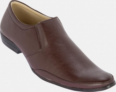 Zapatoz Brown Office Slip On Shoes